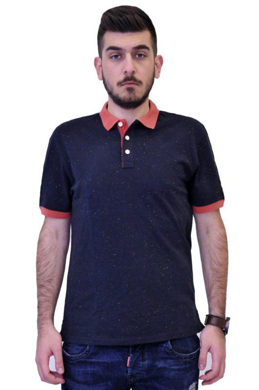 Μπλε κοντομάνικη βαμβακερή μπλούζα τύπου polo με μικροσχέδια