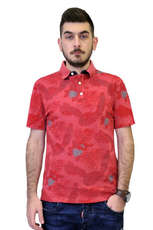 Κοραλί κοντομάνικη μπλούζα τύπου polo με λουλούδια