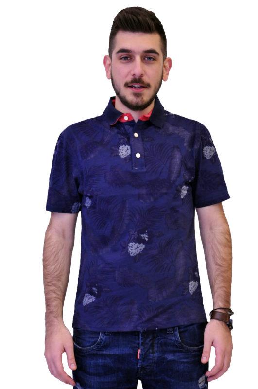 Μπλε κοντομάνικη βαμβακερή μπλούζα τύπου polo με λουλούδια 1251.011/11/HAVANA.001.01