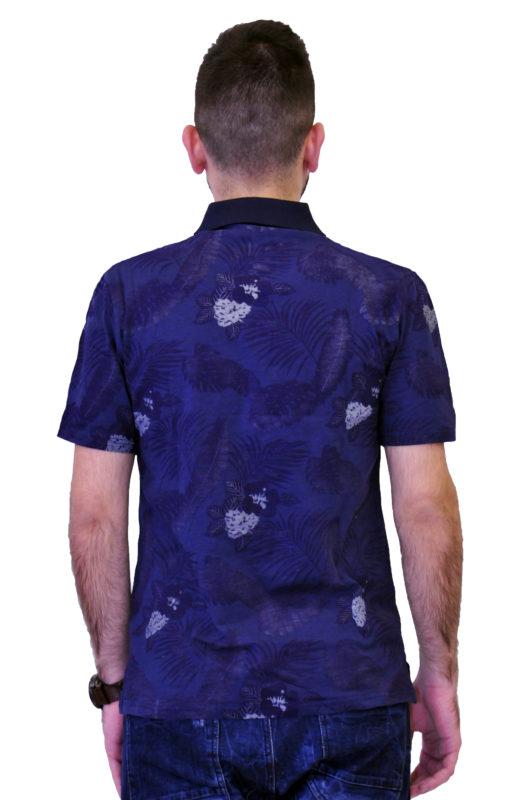 Μπλε κοντομάνικη βαμβακερή μπλούζα τύπου polo με λουλούδια
