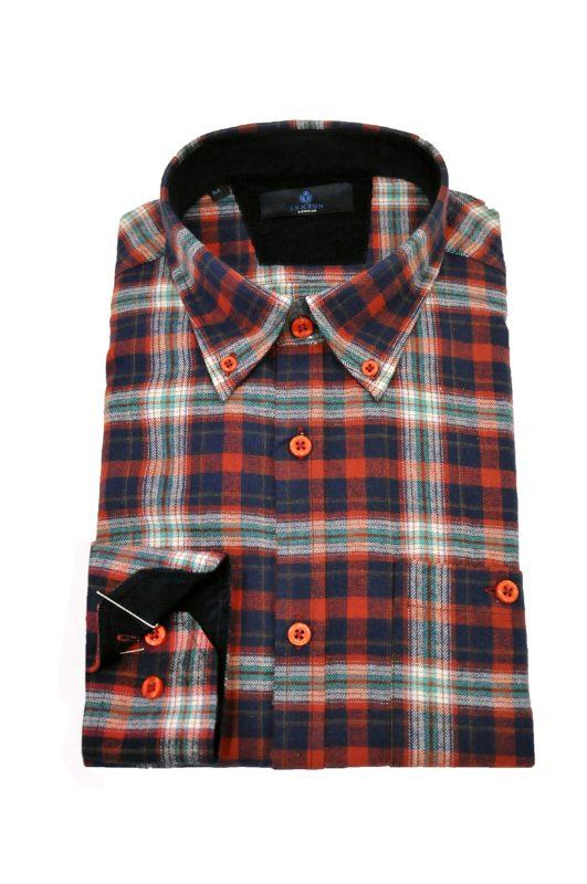 Καρό μακρυμάνικο πουκάμισο LEXTON τύπου φανέλας
