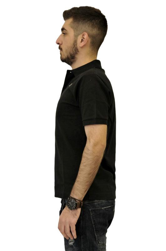 Μαύρο μονόχρωμο βαμβακερό μπλουζάκι ROBE DI KAPPA τύπου polo
