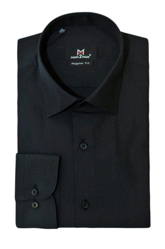 Μαύρο μονόχρωμο μακρυμάνικο πουκάμισο