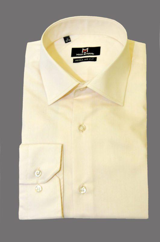 Εκρού μονόχρωμο μακρυμάνικο πουκάμισο MAN2MAN