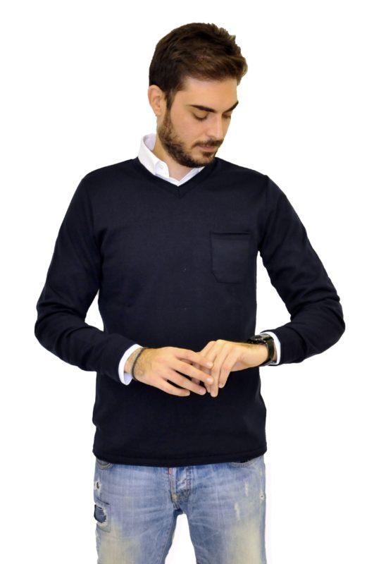 Μπλέ πλεκτή μπλούζα 3PLAY