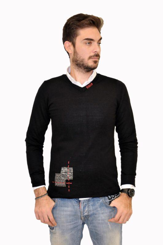 Μαύρη πλεκτή μπλούζα 3PLAY