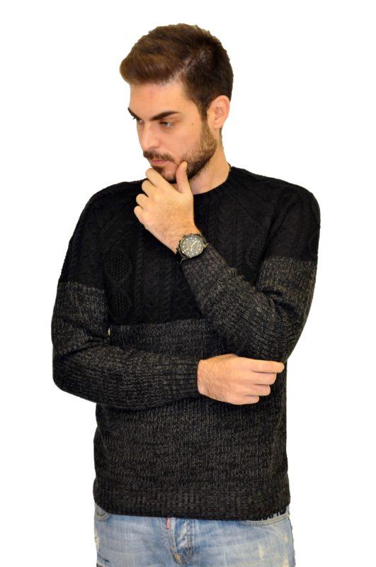 Μαύρη πλεκτή μπλούζα BATTERY