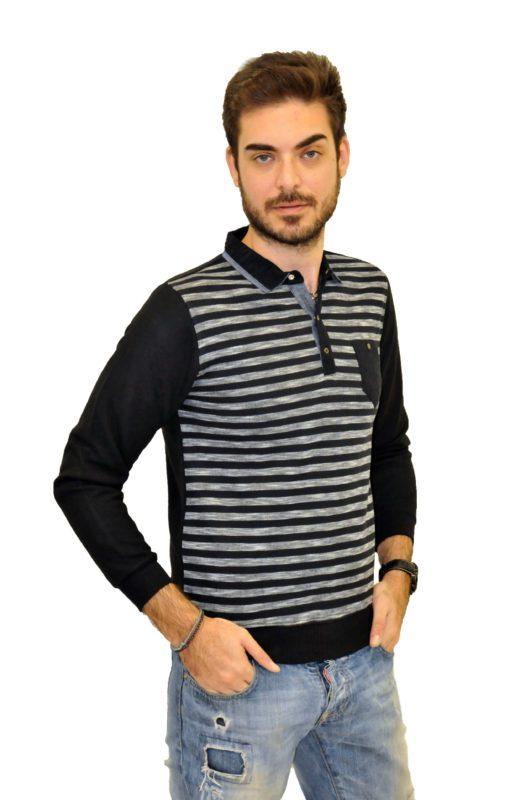Πλεκτή ριγέ μακρυμάνικη μπλούζα