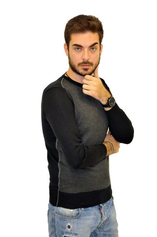 Μαύρη-γκρί πλεκτή μακρυμάνικη μπλούζα MAN2MAN
