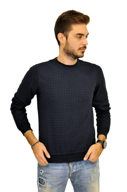 Μπλέ πλεκτή μακρυμάνικη μπλούζα MAN2MAN