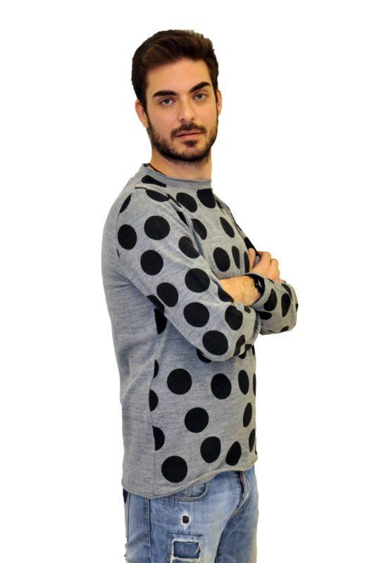 Γκρί πουά πλεκτή μπλούζα MARTINI
