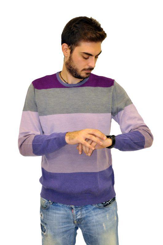Γκρί-μώβ ριγέ πλεκτή μπλούζα