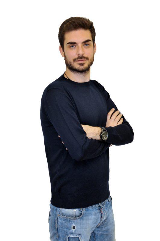 Μπλέ πλεκτή μπλούζα MAN2MAN