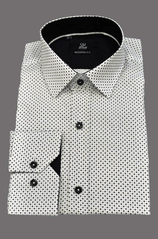 Λευκό εμπριμέ πουκάμισο με μικροσχέδια
