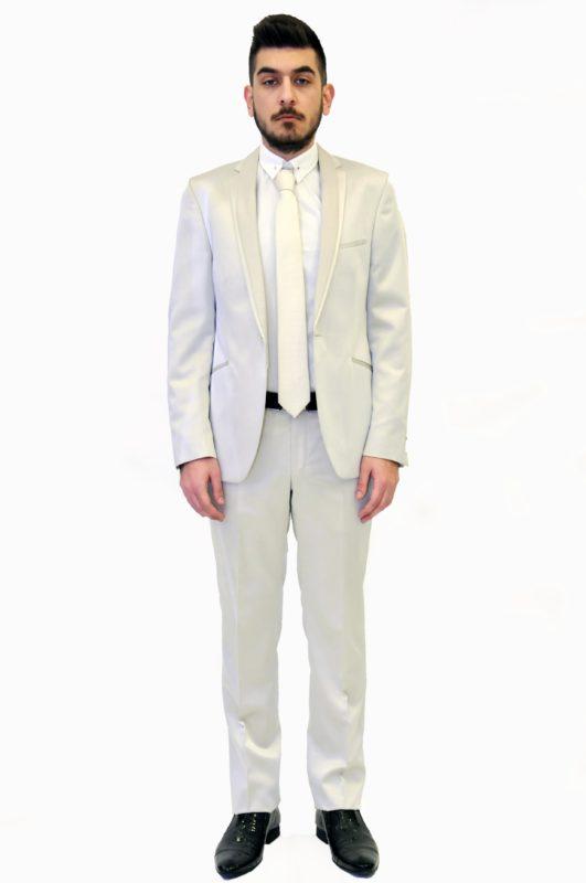 Εκρού γαμπριάτικο μεταξωτό κοστούμι
