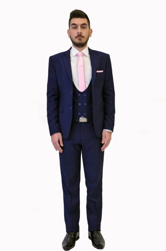Σκούρο μπλε γαμπριάτικο κοστούμι με γιλέκο