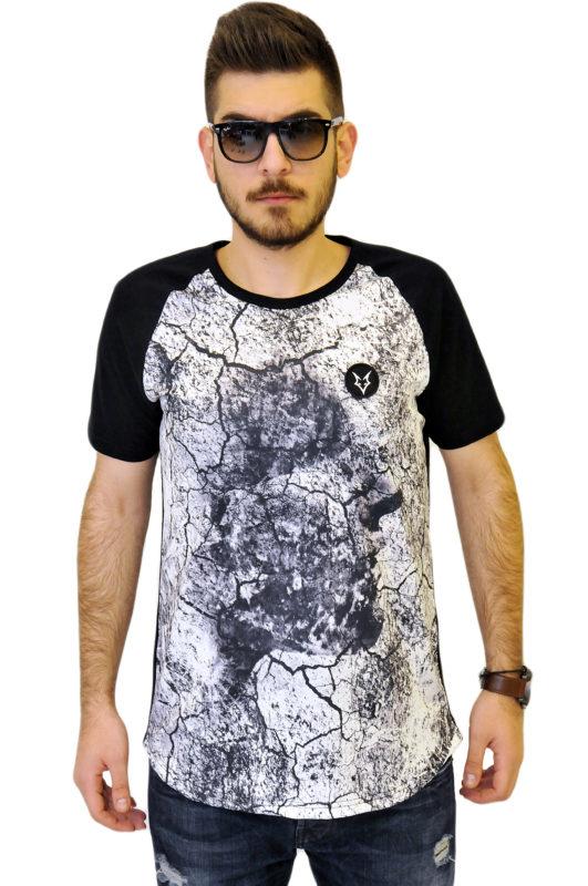 Μαύρη βαμβακερή μπλούζα τύπου λαιμόκοψη με ρεκλάν μανίκια και ενιαία στάμπα
