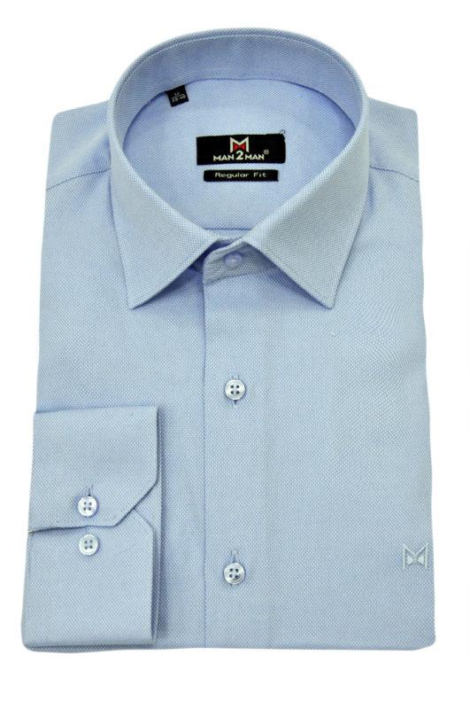 Σιέλ μονόχρωμο μακρυμάνικο πουκάμισο τύπου oxford
