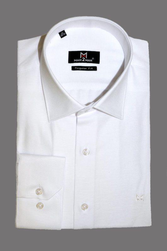 Λευκό μονόχρωμο μακρυμάνικο πουκάμισο τύπου oxford