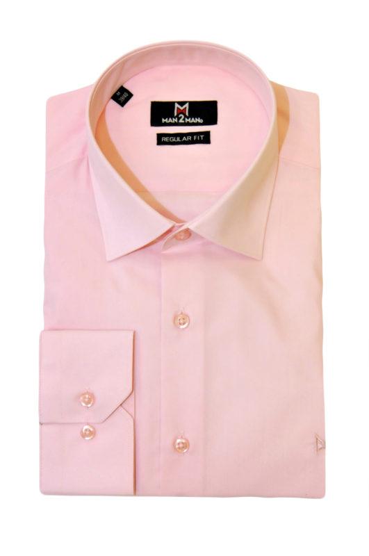 Ρόζ μονόχρωμο μακρυμάνικο πουκάμισο