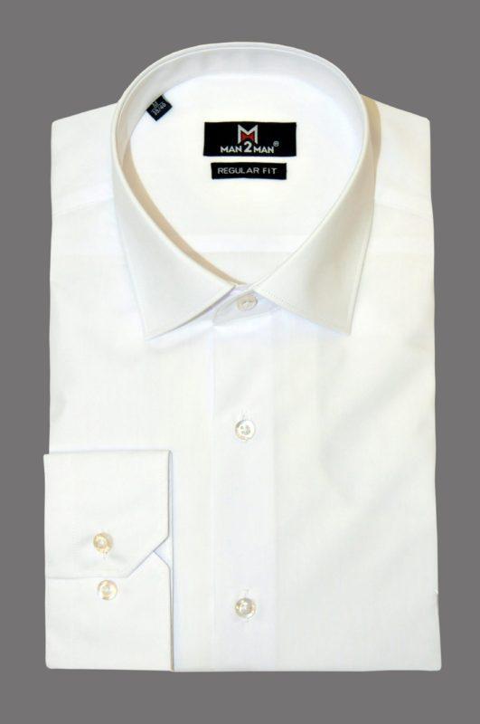 Λευκό μονόχρωμο μακρυμάνικο πουκάμισο