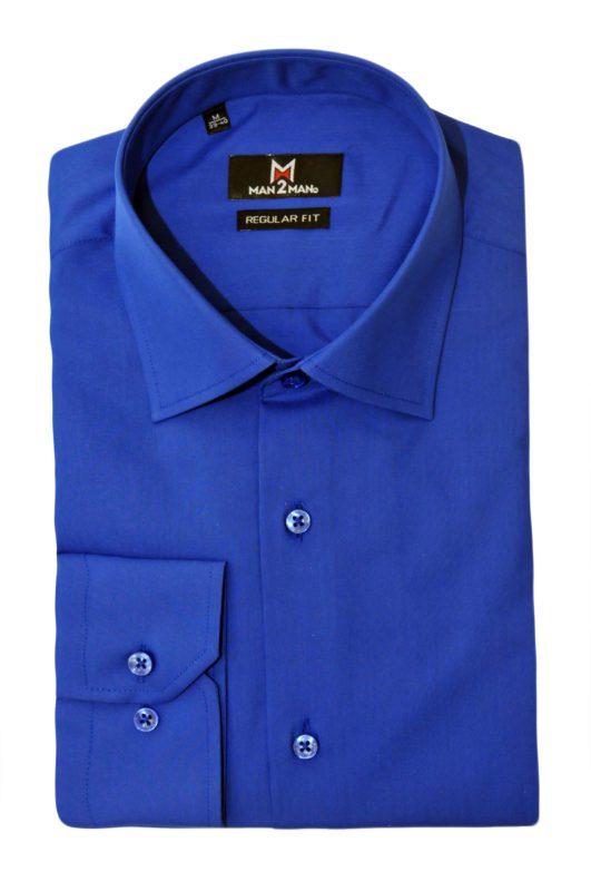 Μπλέ ηλεκτρίκ μονόχρωμο μακρυμάνικο πουκάμισο