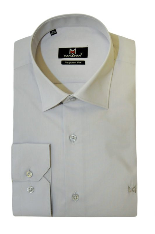 Γκρί ανοιχτό μονόχρωμο μακρυμάνικο πουκάμισο