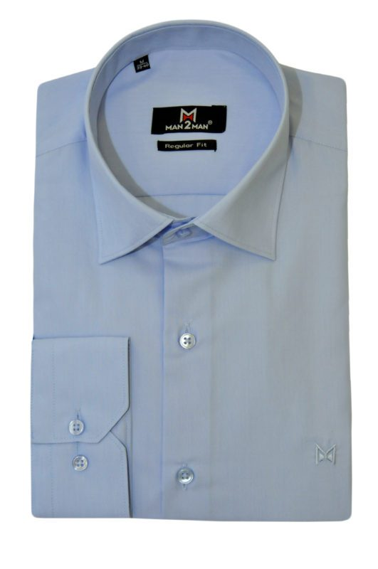 Σιέλ-μώβ μονόχρωμο μακρυμάνικο πουκάμισο