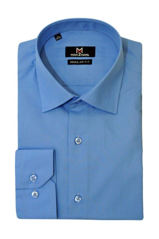 Μπλέ ανοιχτό μονόχρωμο μακρυμάνικο πουκάμισο