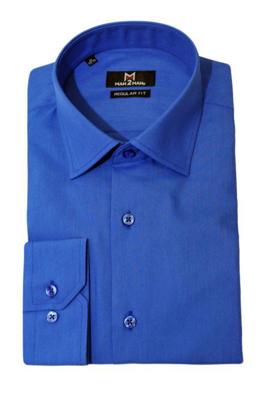 Μπλέ ρουά μονόχρωμο μακρυμάνικο πουκάμισο