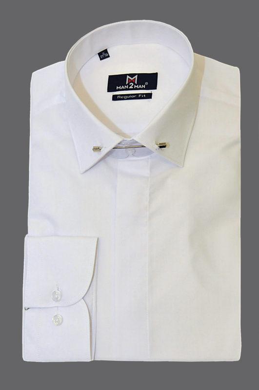 Λευκό γαμπριάτικο πουκάμισο με κανονικό γιακά, διπλή μανσέτα, κρυφά κουμπιά και μεταλλική καρφίτσα στον γιακά