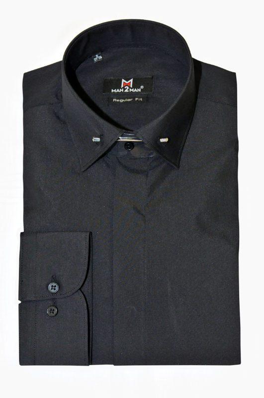 Μαύρο γαμπριάτικο πουκάμισο με κανονικό γιακά, διπλή μανσέτα, κρυφά κουμπιά και μεταλλική καρφίτσα στον γιακά