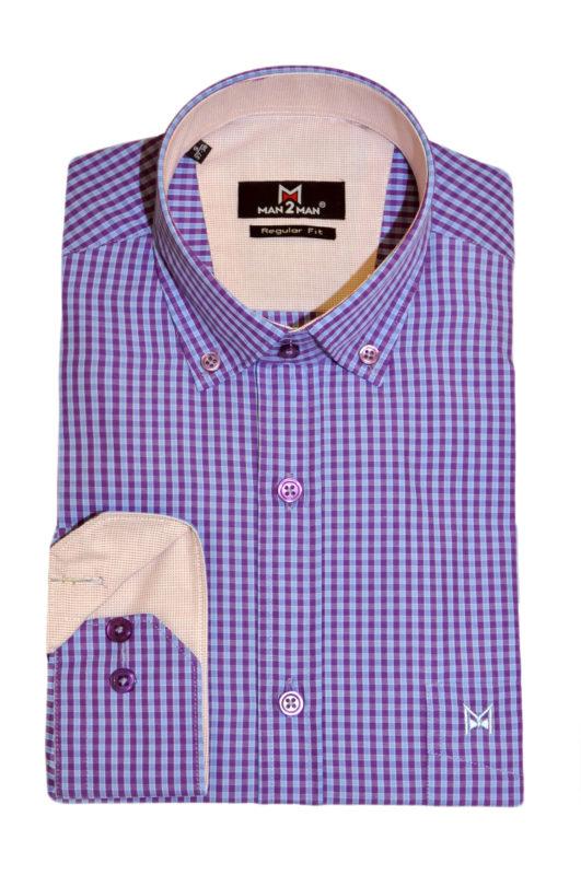 Μώβ καρό μακρυμάνικο πουκάμισο MAN2MAN