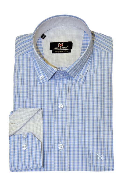 Σιέλ καρό μακρυμάνικο πουκάμισο MAN2MAN