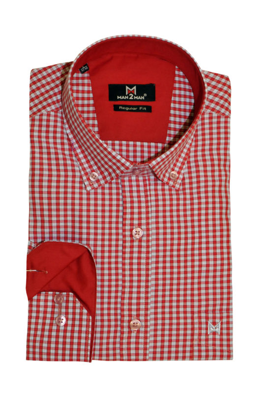 Κοραλί καρό μακρυμάνικο πουκάμισο MAN2MAN