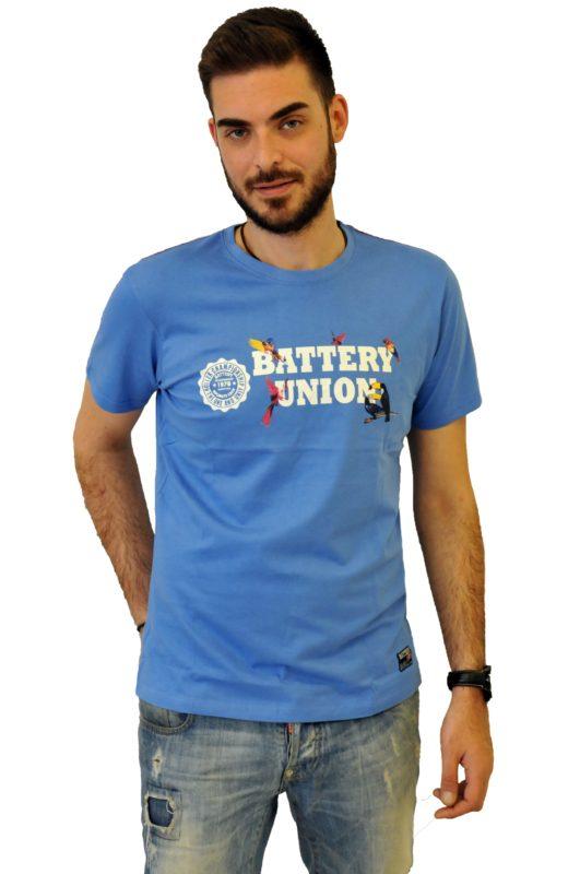Μπλέ βαμβακερό μπλουζάκι με στάμπα Battery τύπου λαιμόκοψη