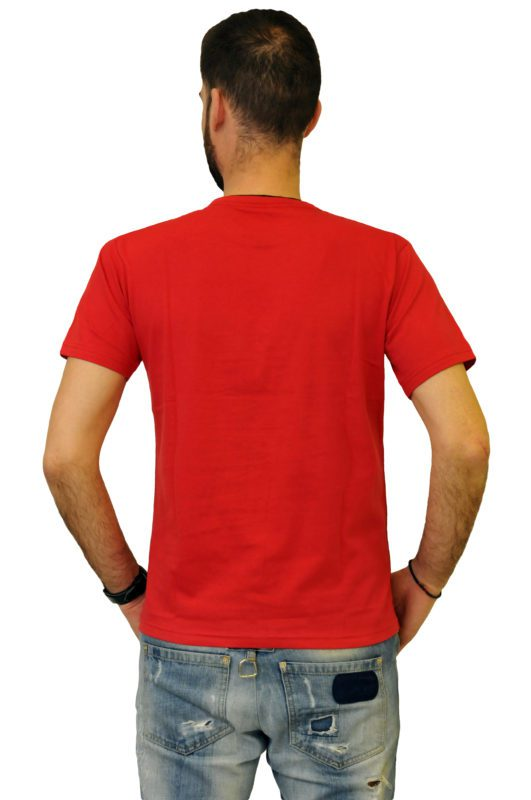 Κόκκινο βαμβακερό μπλουζάκι με στάμπα Battery τύπου λαιμόκοψη