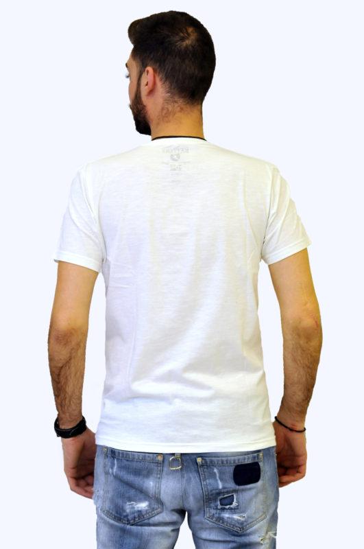 Άσπρο βαμβακερό μπλουζάκι με στάμπα Battery τύπου λαιμόκοψη