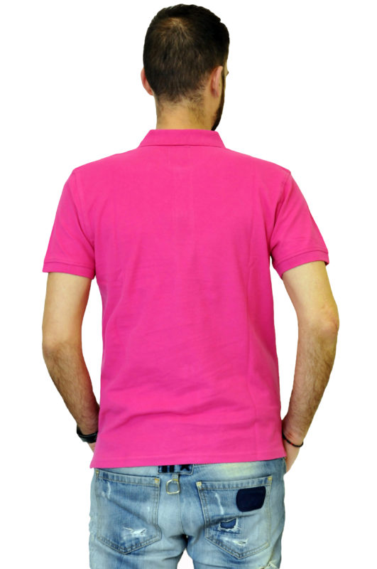 Φουξ μονόχρωμο βαμβακερό μπλουζάκι BATTERY τύπου polo