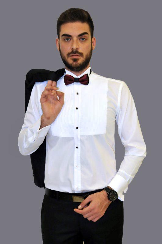 Λευκό γαμπριάτικο πουκάμισο με διπλή μανσέτα και σπαστό γιακά