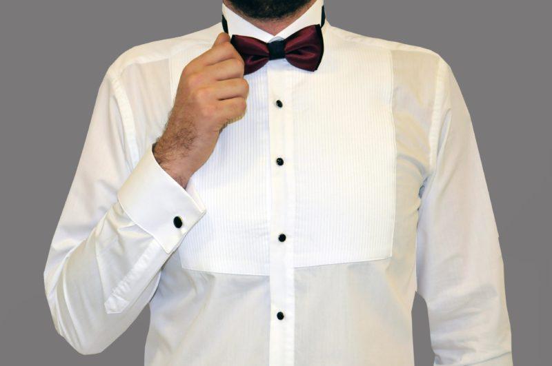 537b0b3c4006 Λευκό γαμπριάτικο πουκάμισο με διπλή μανσέτα και σπαστό γιακά