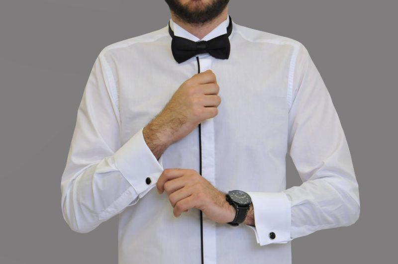 b23d294b47a1 Λευκό γαμπριάτικο πουκάμισο με σπαστό γιακά