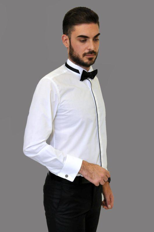 Λευκό γαμπριάτικο πουκάμισο με σπαστό γιακά, διπλή μανσέτα και κρυφά κουμπιά