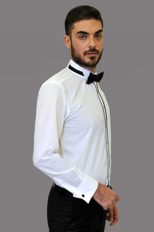 Λευκό γαμπριάτικο πουκάμισο με σπαστό γιακά, διπλή μανσέτα και διπλό ρέλι στην πατιλέτα