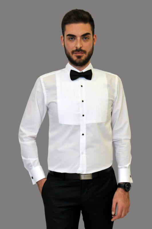 Λευκό γαμπριάτικο πλισέ πουκάμισο με διπλή μανσέτα και κλασσικό γιακά