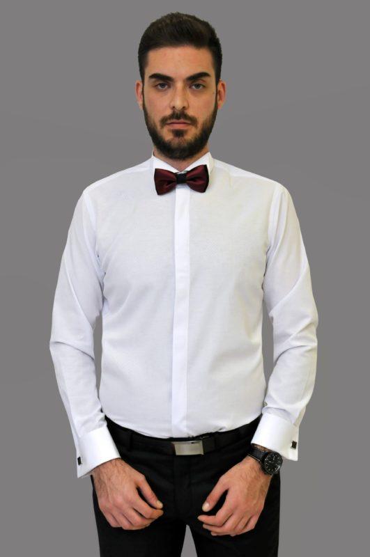 Λευκό γαμπριάτικο πουκάμισο με μικροσχέδια στην ύφανση f89cc68b697
