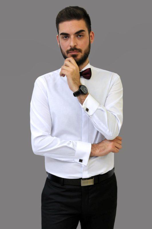Λευκό γαμπριάτικο πουκάμισο με μικροσχέδια στην ύφανση, σπαστό γιακά,διπλή μανσέτα και κρυφά κουμπιά
