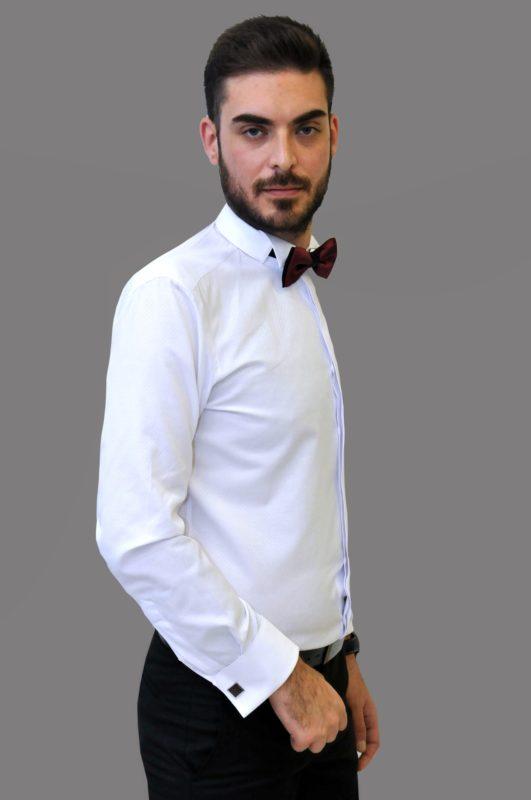 Λευκό γαμπριάτικο πουκάμισο με μικροσχέδια στην ύφανση, σπαστό γιακά, διπλή μανσέτα και κρυφά κουμπιά