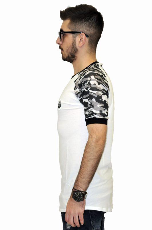 Λευκό βαμβακερό μπλουζάκι με ρεκλάν μανίκια παραλλαγής