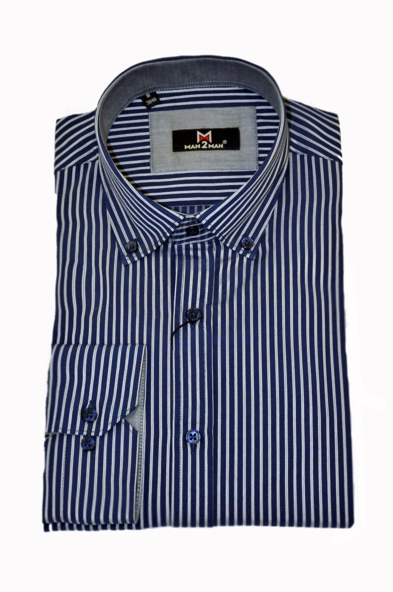 Μπλε-λευκό ριγέ βαμβακερό πουκάμισο MAN2MAN